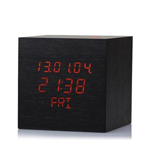 GAOHL Imitación madera Led Digital calendario alarma