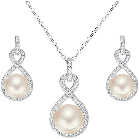 EleQueen Orecchini collana Pulsante 925 Sterling Silver CZ AAA gioielli Crema coltivata d'acqua dolce perla Infinity nuziale