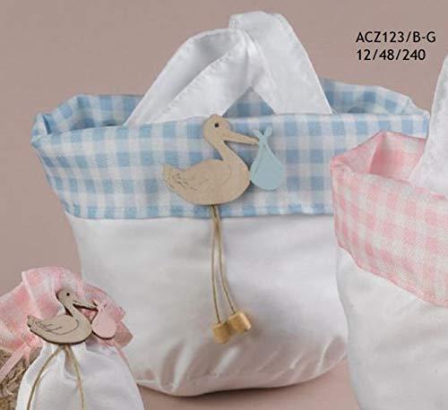 Borsa cicogna celeste porta sacchetti confetti bomboniera