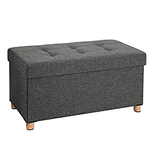 SONGMICS Sitztruhe Sitzhocker Fußhocker mit Stauraum und Deckel mit Holzfüßen, 76 x 38 x 40 cm dunkelgrau LSF16GYZ