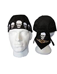 Skulls and Harley Style Wings Zandanna Doorag Mesh Lined Cotton Headwear Color : Black Size: One Size