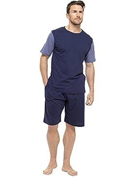 Tom Franks Camiseta con tirantes y pantalón corto de algodón hombre Conjunto de salón con pijama azul marino y...