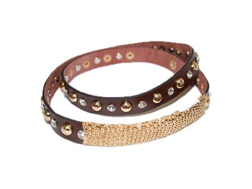 La Loria Mujer cadena de botas Glamour Rock Accesorios de la joyería para decorar el calzado - marrón, 1 Par