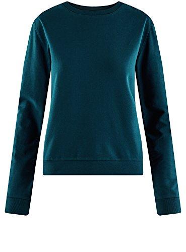 oodji Ultra Damen Baumwoll-Sweatshirt Basic Blau (7400N)