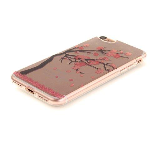 Coque iPhone 7,Étui iPhone 7,iPhone 7 Case,ikasus® Coque iPhone 7 Silicone Étui Housse [Conception IMD et cadre en silicone TPU] Téléphone Couverture TPU Ultra Mince Premium Semi Hybrid Crystal Clear  Fleur de prunier rouge