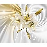decomonkey Fototapete selbstklebend Blumen Lilien 343x256 cm XL Selbstklebende Tapeten Wand Fototapeten Tapete Wandtapete klebend Klebefolie 3d Effekt Abstrakt weiß gelb