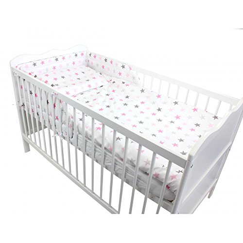 TupTam Baby Bettwäsche mit Nestchen 3-tlg. Bettset Baumwolle, Farbe: Sterne Rosa 2, Anzahl der Teile:: 3 tlg. Set