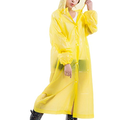 Zhhlinyuan Portable Womens Slim Hooded EVA Waterproof Raincoat Rain Poncho yellow