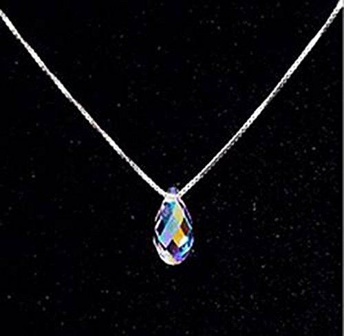 CS priorità Aurora d'acqua a forma di goccia, con cristalli colorati, collana con ciondolo, da donna, moda donna - Aurora Collana