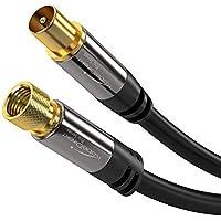 KabelDirekt 3m Cable TV Sat, (75 Ohm, HDTV, Conector F a Conector coaxial, Cable coaxial soporta HDTV, DVB-T2, DVB-C, DVB-S, TV y Radio), Pro Series