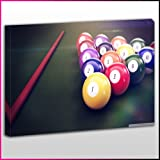 "S475 Leinwanddruck Poolbillardtisch / Snooker, Queue und Kugeln, gerahmt, fertig zum Aufhängen Frame Size 40""x60"""