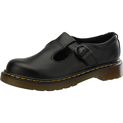 Dr. Martens Polley J Black Leather Junior Mary Jane Shoes
