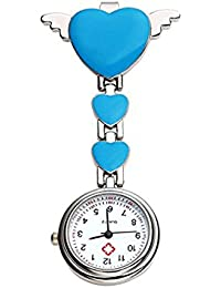 TOOGOO(R) Womens Girls Heart Angle Wing Nurse Fob Clip On Brooch Hanging Pocket Watch Blue