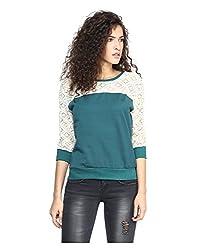 Yepme Norah Lace Sweatshirt - Green -- YPMSWEAT5107_L