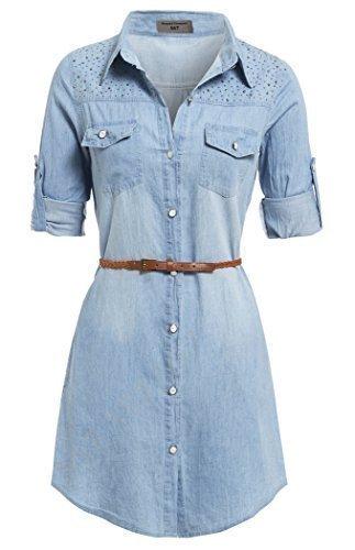 SS7 neue Retro Denim Blau Hemd Kleid Größen eu 36 - 14 - Denim Hellblau, 38