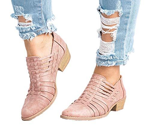 NEOKER Damen Lederschuhe Pointed Elegant Block Heels Reißverschluss Trichterabsatz Herbst Outdoor Schuhe Frauen Wedge Sneakers 5cm Rosa 44