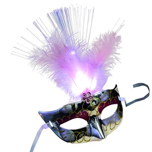 Huhu833 Feather Masken, Halloween Damen Venezianische LED Faser Maske Maskerade Kostümfest Prinzessin Feather Masken ()