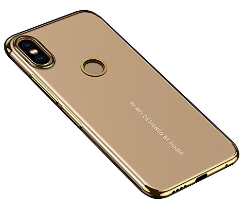 BLUGUL Funda Xiaomi Mi Mix 2S, Electroplating Coloring, Ultra Fina, Transparente Suave TPU Silicona Cover Claro Case para Xiaomi Mix 2S Oro