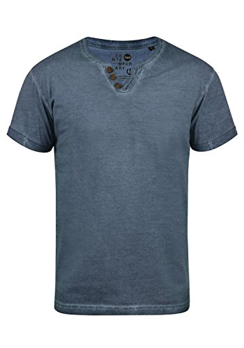 !Solid Tino Herren T-Shirt Kurzarm Shirt mit V-Ausschnitt und Grandad-Kragen Aus 100% Baumwolle, Größe:L, Farbe:Insignia Blue (1991)