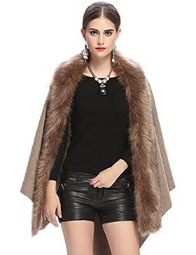 NiSeng Mujer capas abrigos invierno de pelo sintetico poncho de punto manga larga