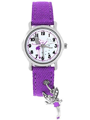 Feen Lila Kostüme (Pacific Time Kinder-Armbanduhr Elfe Anhänger Armbanduhr Kinder Mädchen Kinderuhren Uhren Uhr Kinderarmbanduhr Kinderuhr analog Quarz lila violett)