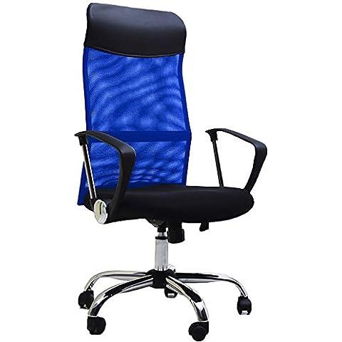 BTM–Sedia direzionale con schienale alto Multicolor regolabile sedia da ufficio, girevole, reclinabile, seduta in rete (vino) Blue