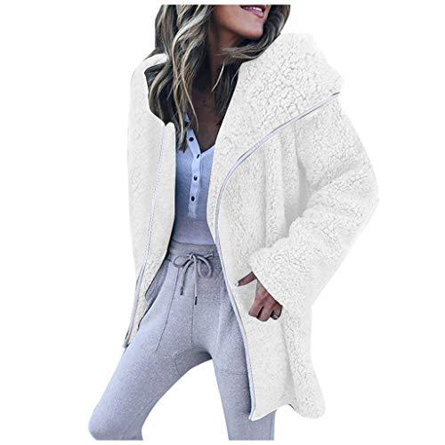 Xuthuly Frauen Arbeiten Elegante Reine Farbe um Kunstpelz Reißverschluss Jacke Streetwear Damen Casual Einfache Langarm Lange Strickjacke Mantel