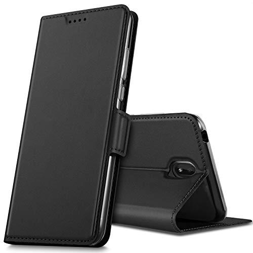 GEEMAI für Nokia 1 Plus Hülle, handyhüllen Flip Hülle Wallet Stylish mit Standfunktion & Magnetisch PU Tasche Schutzhülle passt für Nokia 1 Plus Smartphone, Schwarz