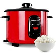 Klarstein Osaka olla arrocera (500 W, 1,5L , antiadherente, apagado automático con función de mantenimiento en calor, tapa de vidrio, incluye cucharón y vaso medidor de arroz) - rojo