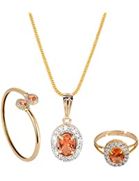 Archi Collection Designer Jewellery Combo Of Brown American Diamond Pendant With Chain, Earrings, Ring And Bracelet...