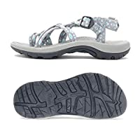 Viakix Walking Sandals Women -Stylish Comfortable Athletic Sandals for Hiking, Water, Outdoors, Sports Grey