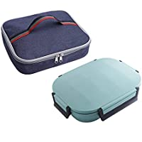 Preisvergleich für Bento Edelstahl-Food-Container - Fünf-Bereich Design Bento Lunch Box Für Kinder Oder Erwachsene - Spülmaschinenfest Und BPA-Frei Mit Mahlzeit Tasche