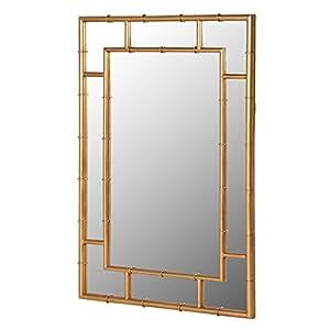 Large Gold Metallic Bamboo Wood Effect Frame Rectangle