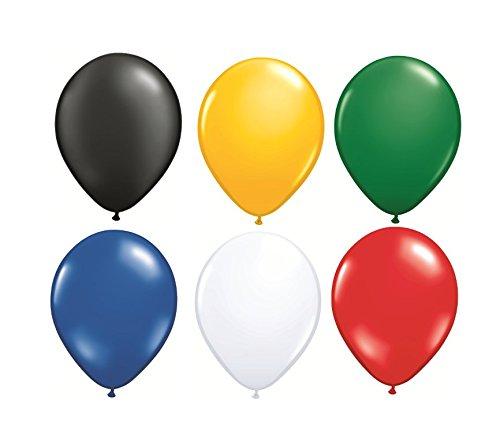 DeCoArt... Set Preis Deko Südafrika 30 Luftballons schwarz gelb grün blau weiß und rot ca. 28 cm Latexballon, 30 Ballonverschlüsse BV10 weiß und EIN weißes Aufblasventil sowie Infoblatt (Luftballons Blaue Gelbe Und)