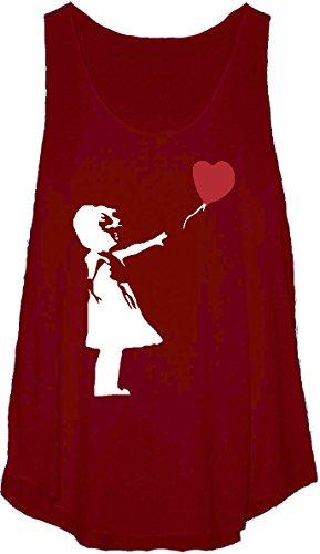 Banksy Stampa Gilet Canottiera da donna casual Burgundy Taglia unica