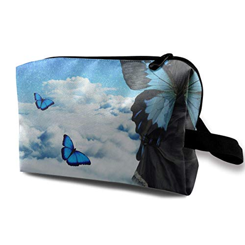 Rolling Organizer Duffel (Portable Travel Cosmetic Bag Surreal Butterfly Art Landscape Lady Makeup Organizer Clutch Bag with Zipper)