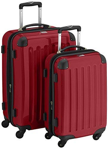 HAUPTSTADTKOFFER 2er Hartschalen Kofferset · Handgepäck 42 Liter (55 x 35 x 19 cm) + Koffer 74 Liter (65 x 41 x 26 cm) · Hochglanz · Zahlenschloss · ROT