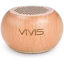 Bluetooth Lautsprecher, VIVIS Bluetooth Naturholz Mini Lautsprecher, Bluetooth 4.2, 8 Stunden Akkulaufzeit, für iPhone, iPad, iPod, Tablet, Samsung, LG, HTC uvm