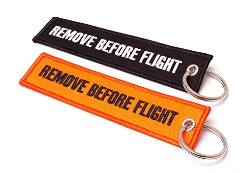 REMOVE BEFORE FLIGHT  Llavero – 2 Stk. Set | Original EU Marca | de Comercial, Negro/Naranja