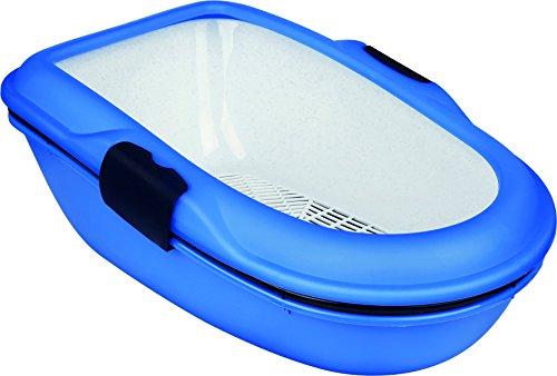 Trixie 40152 Berto Bandeja para gatos, 39 × 22 × 59 cm, azul claro/azul oscuro/granito - Dimensiones: 39 x 22 x 59 cm | sistema de separación higiénica | el consumo de arena económica | Color: azul claro / azul marino / granito | Borde Tazón impide e...