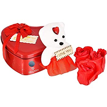 Touchoff Fabric Heart-Shaped Box with Teddy and Roses