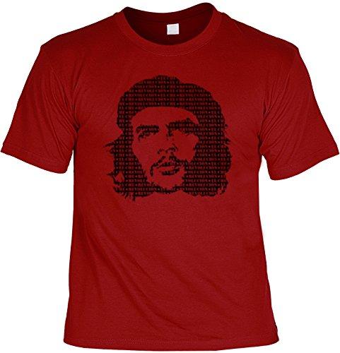 Portrait- Shirt /T-Shirt/Baumwoll-Shirt lässiger Aufdruck: CHE GUEVARA - cooles Motiv Dunkelrot