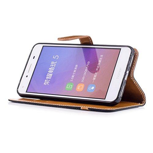 Qiaogle Téléphone Coque - PU Cuir rabat Wallet Housse Case pour Apple iPhone 5 / 5G / 5S / 5SE (4.0 Pouce) - BF08 / Denim (Vert) BF02 / Denim (Noir)