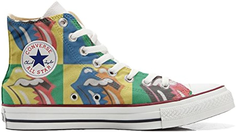 mys Converse All Star Hi Customized Personalisiert Schuhe (Gedruckte Schuhe) Rolling Stones