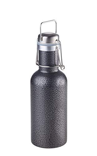 TROIKA Serengeti - BOT23/TI - Trinkflasche - Wasserflasche - sauberes Trinken - wiederverwendbar- 600 ml - lebensmittelecht (LFGB geprüft) - 18/8 Edelstahl/Silikon/Aluminium - TROIKA-Original