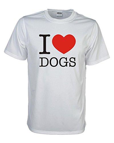 I love dogs hochwertiges weißes T-Shirt mit witzigem Druck auf der Brust, Ich liebe HUNDE Funshirt Klassiker Geschenk große Größen (FSL010) M (Hund Herz Tee)