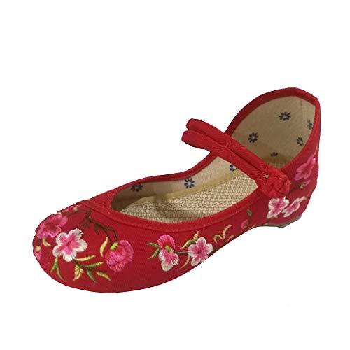LILIHOT Weiblicher Frühlings- und Sommer pfirsichblüten Schnalle nationaler Wind stickte Stoffschuhe Chinesische Traditionelle Peking-Stil Schuhe Kung Fu Tai Chi Schuhe Gummisohle
