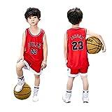 Kinder Männer Basketball Kleidung NBA Trikots Set Bulls Michael Jordan # 23 Basketball Kleidung Hemd Weste Uniform Sommer Top Shorts für Jungen und Mädchen-red-XL