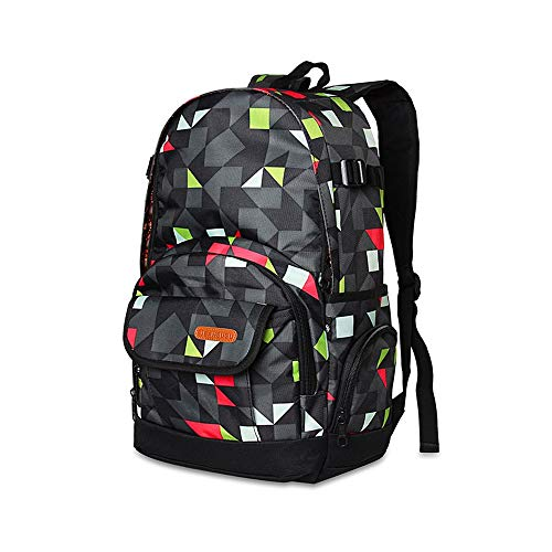 Laptop-Rucksack, Bürocomputer-Rucksack mit großer Kapazität, Polyestermaterial wasserdicht und langlebig, komfortable Nutzung (32 * 16 * 40 cm / 12,8 * 6,4 * 16 Zoll, schwarzes und grünes Farbdesign)