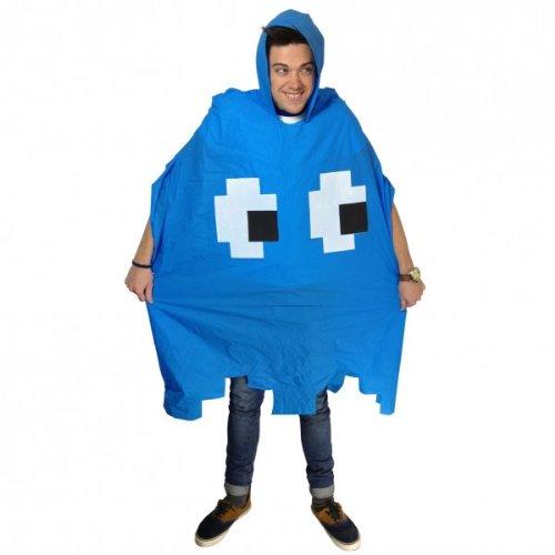 Rave Monster Kostüm - Retro Arcade Poncho - blau (Der Kult Regenponcho)